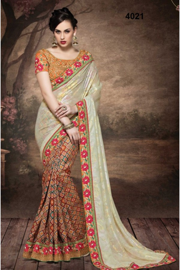 Festival Wear Multicolour Fancy Georgette Saree  - 4021