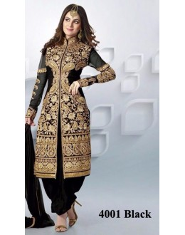 Bridal Wear Black Net Embroidered Patiyala Suit  - 4001Black