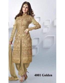 Festival Wear Golden Net Patiyala Suit  - 4001Golden