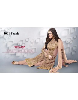 Wedding Wear Peach Net Patiyala Suit  - 4001Peach