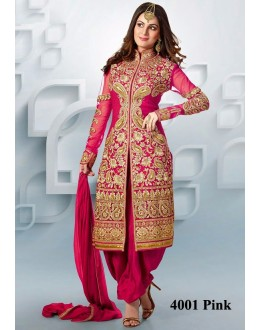 Party Wear Pink Net Patiyala Suit  - 4001Pink