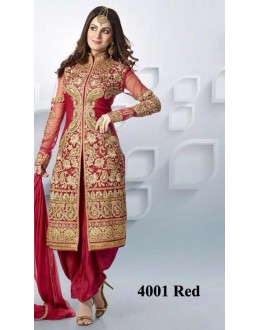 Wedding Wear Red Net Patiyala Suit  - 4001Red