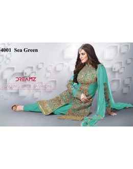 Party Wear Sea Green Net Patiyala Suit  - 4001Sea Green