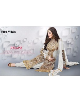 Bridal Wear White Net Patiyala Suit  - 4001White