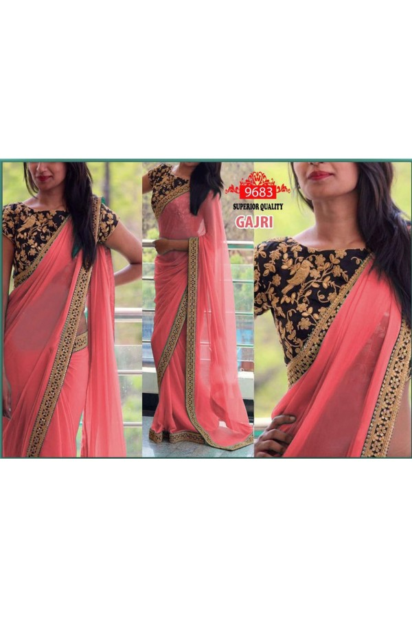 Bollywood Replica - Party Wear Pink Saree - 9683-E