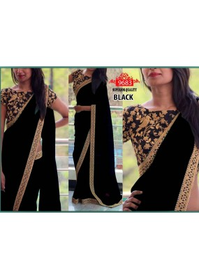 Bollywood Replica - Party Wear Black Saree - 9683-G