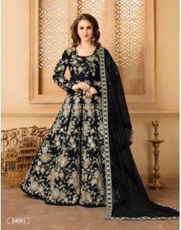 Party Wear Black Taffeta Silk Anarkali Suit - 24001