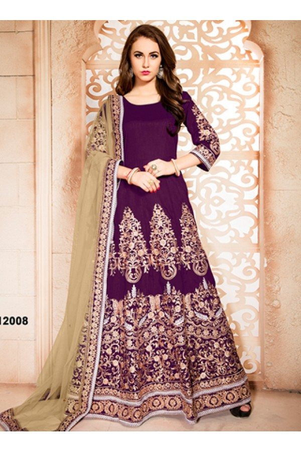 Designer Purple & Beige Banglori Silk Anarkali Suit  - 12008
