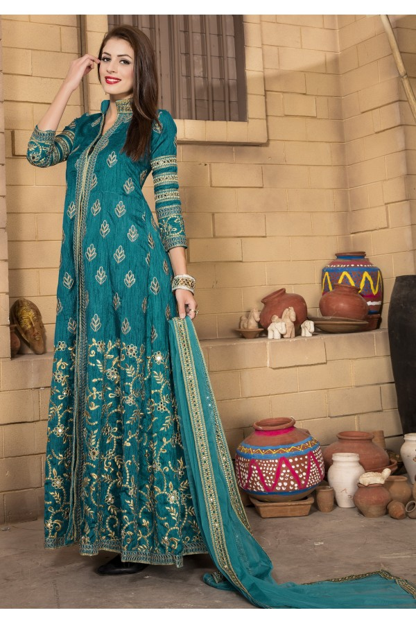 Party Wear Rama Blue Banglori Silk Anarkali Suit  - 14002