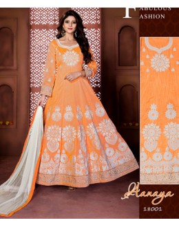 Festival Wear Orange Banglori Silk Anarkali Suit  - 18001