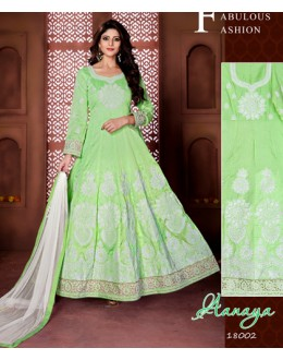 Wedding Wear Green Banglori Silk Anarkali Suit  - 18002