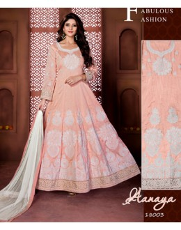 Designer Light Peach Banglori Silk Anarkali Suit  - 18003