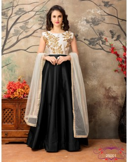 Off White & Black Taffeta Silk Anarkali Suit - 25001