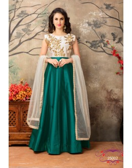 Festival Wear Off White & Green Taffeta Silk Anarkali Suit - 25002