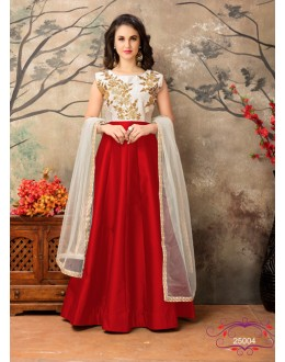 Designer Off White & Red Taffeta Silk Anarkali Suit - 25004