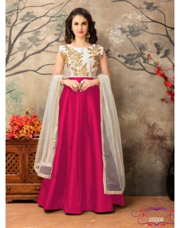 Off White & Magenta Taffeta Silk Anarkali Suit - 25006