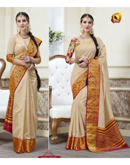 Festival Wear Cream Jacquard Tussar Silk Saree  - 2673