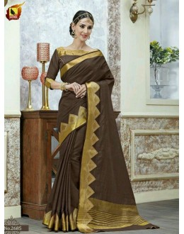 Ethnic Wear Brown Jacquard Tussar Silk Saree  - 2685