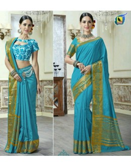 Party Wear Sky Blue Jacquard Tussar Silk Saree  - 2688