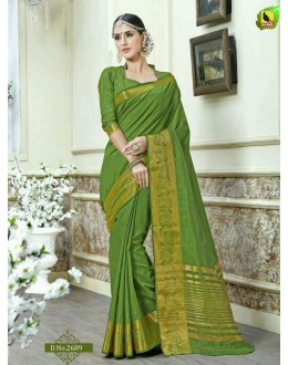 Casual Wear Green Jacquard Tussar Silk Saree  - 2689