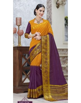 Festival Wear Yellow & Purple Jacquard Tussar Silk Saree  - 2678