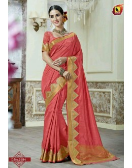 Party Wear Peach Jacquard Tussar Silk Saree  - 2684