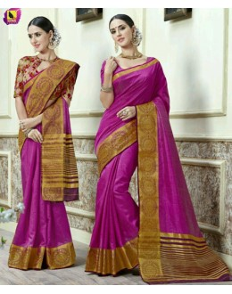 Party Wear Magenta Jacquard Tussar Silk Saree  - 2680