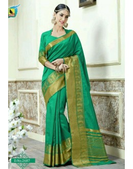 Casual Wear Green Jacquard Tussar Silk Saree  - 2687