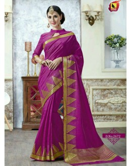 Casual Wear Magenta Jacquard Tussar Silk Saree  - 2672