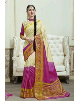 Party Wear Cream & Magenta Jacquard Tussar Silk Saree  - 2677