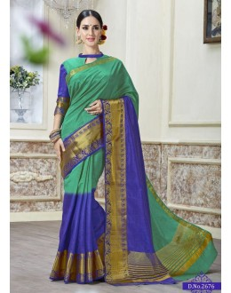 Ethnic Wear Green & Blue Jacquard Tussar Silk Saree  - 2676