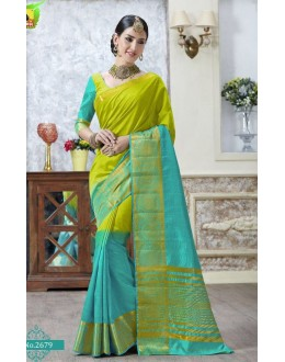 Ethnic Wear Green & Blue Jacquard Tussar Silk Saree  - 2679