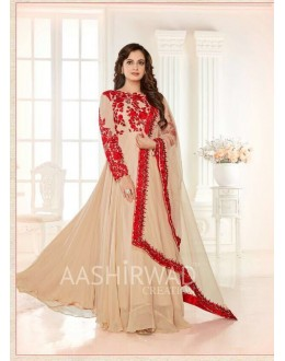 Dia Mirza In Beige Georgette Anarkali Suit  - 7010