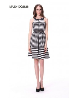 Fancy Readymade Black & White Skater Dress - 2828