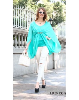 Fancy Readymade Sea Green Western Wear Dress - 3193