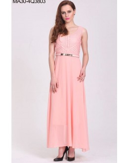 Party Wear Readymade Peach Western Wear Dress - 3803