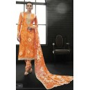 Party Wear Orange Satin Cotton Salwar Suit - 7603