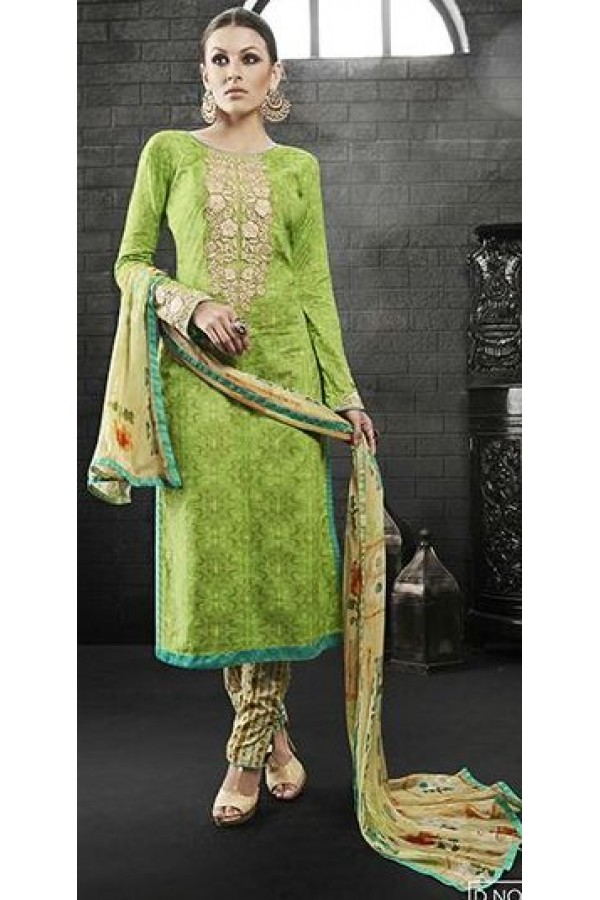 Party Wear Green Satin Cotton Salwar Suit - 7604