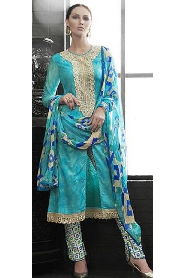 Party Wear Sky Blue Satin Cotton Salwar Suit - 7606
