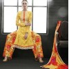 Party Wear Yellow Satin Cotton Salwar Suit - 7607
