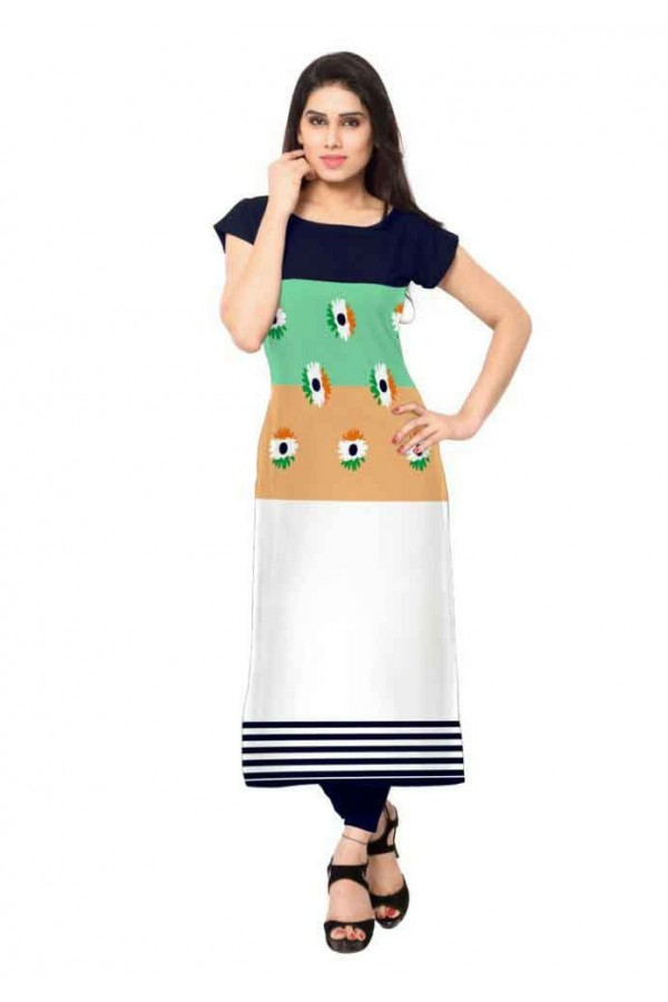 Ethnic Wear Readymade Multicolour Crepe Kurti - 161