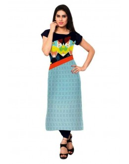 Casual Wear Readymade Sky Blue & Black Crepe Kurti - 156