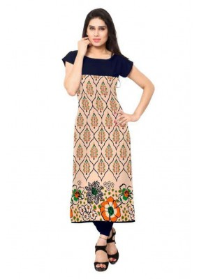 Office Wear Readymade Beige & Black Crepe Kurti - 160