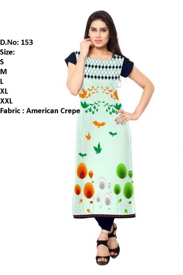 Festival Wear Readymade Light Green Crepe Kurti - 153
