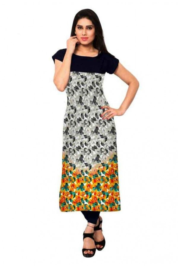 Ethnic Wear Readymade Multicolour Crepe Kurti - 157