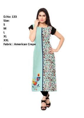 Casual Wear Readymade Sea Green Crepe Kurti - 153