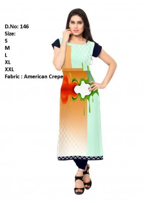 Ethnic Wear Readymade Multicolour Crepe Kurti - 146