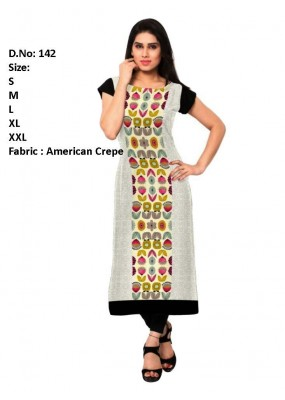 Casual Wear Readymade White & Black Crepe Kurti - 142
