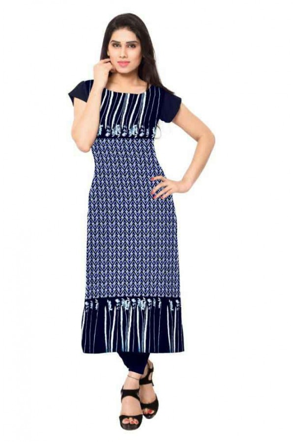 Casual Wear Readymade Blue Crepe Kurti - 148