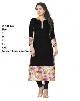 Ethnic Wear Readymade Black Crepe Kurti - 139